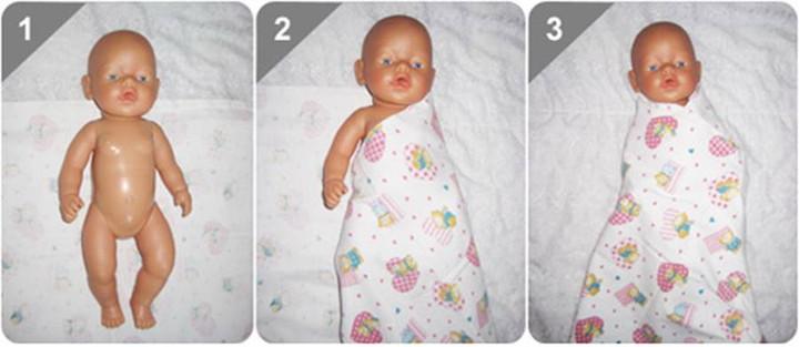 схема тугого пеленания младенца