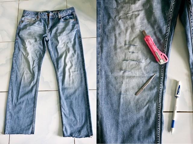 как сделать рваные джинсы фото_1