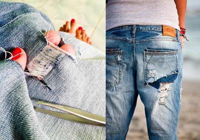 как сделать рваные джинсы фото_2
