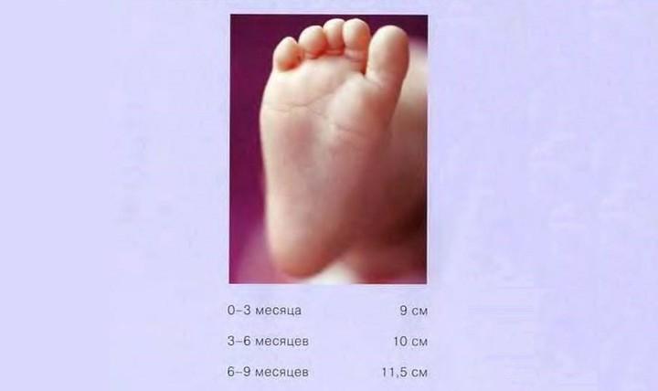 Мерки детской ножки
