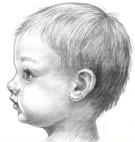 рисуем ребенка карандашом в профиль_12