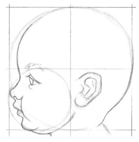 рисуем ребенка карандашом в профиль_4