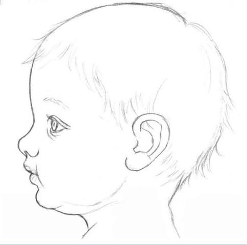 рисуем ребенка карандашом в профиль_5
