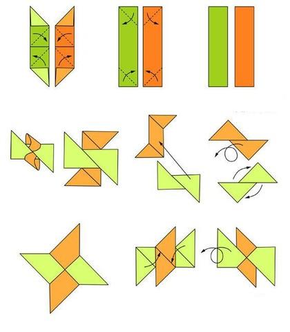Схема изготовления четырехконечного сюрикена