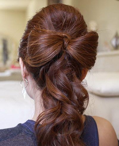 сделать бантик из волос