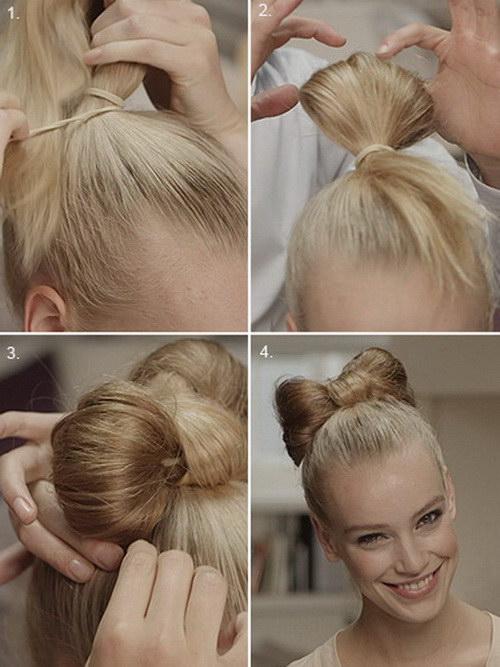 сделать прическу бант из волос
