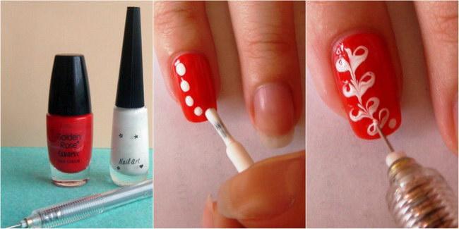 рисунок на ногтях с помощью иголки