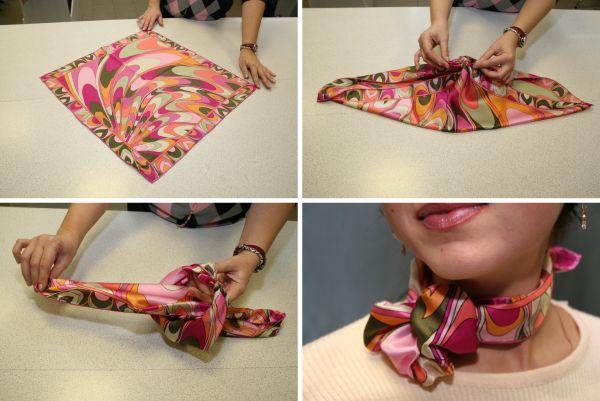 Как повязать маленький платок. «