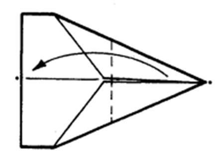 Как сделать остроносый истребитель из бумаги - шаг 4