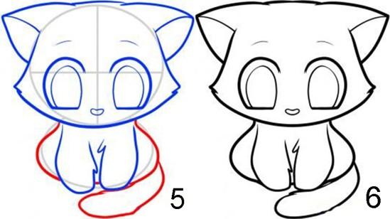 Рисуем мультяшную кошку 3