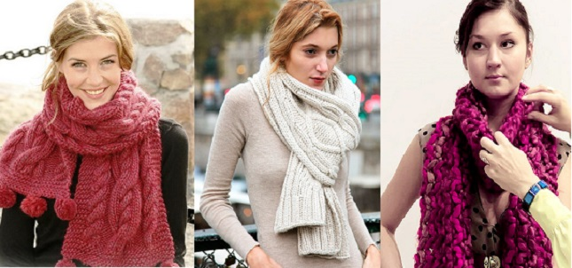Схемы повязывания зимнего шарфа