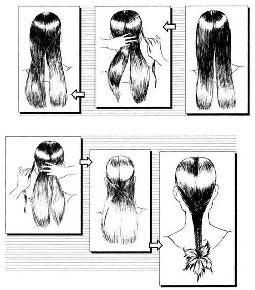 как плести рыбий хвост в технике французской косы