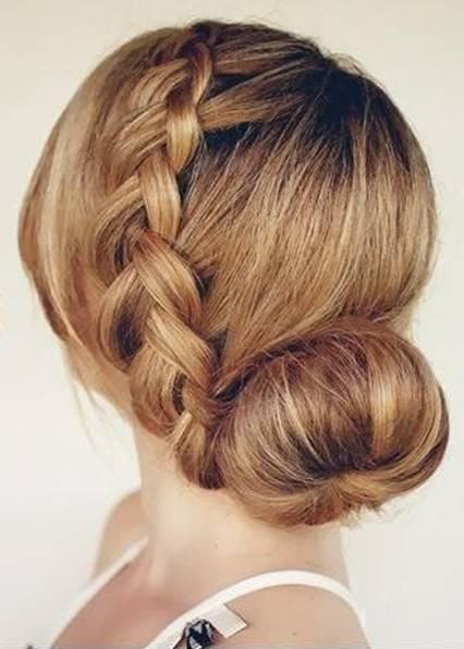 Французская коса с пучком 2