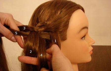 Плетение косы по диагонали 10