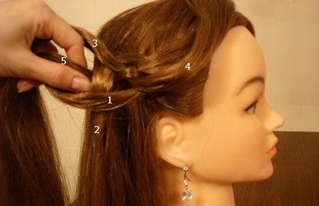 Плетение косы по диагонали 11