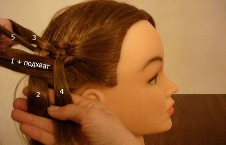 Плетение косы по диагонали 12