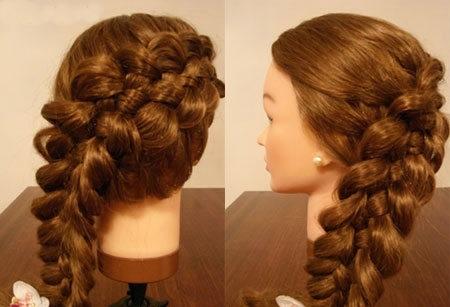 плетение косы по диагонали 15