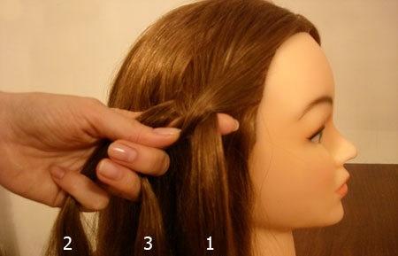 Плетение косы по диагонали 2
