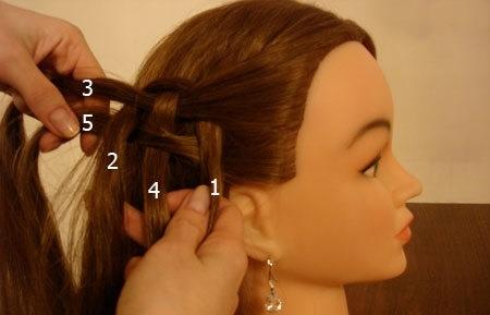 Плетение косы по диагонали 6