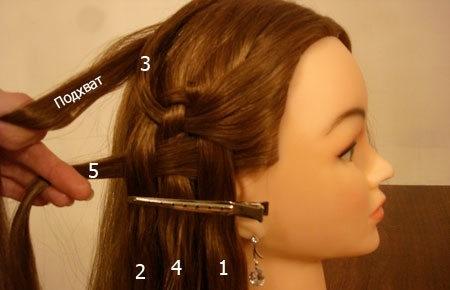 Плетение косы по диагонали 8