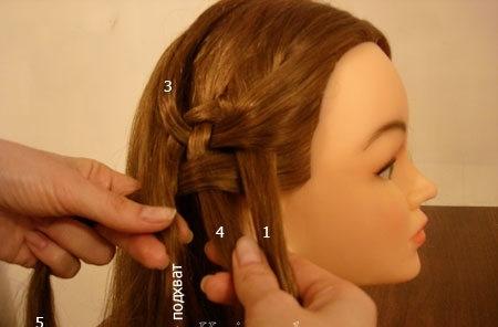 Плетение косы по диагонали 9