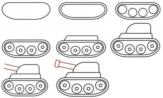 как нарисовать поэтапно мультяшный танк