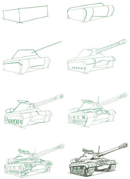 как нарисовать танк ИС-3 поэтапно