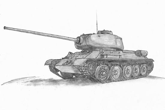 как нарисовать танк т-34 карандашом