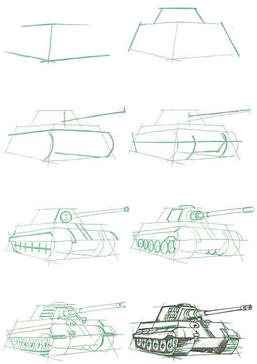 как рисовать танк «Королевский тигр»